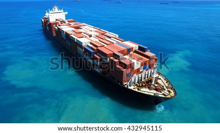 Large container ship at sea - Aerial footage - stock photo