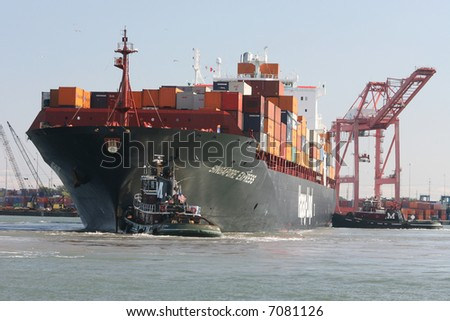 Large Container Ship at shipyards in Norfolk, VA - stock photo
