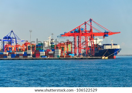 Large container ship in a dock at port, Haydarpasa, ?stanbul, Turkey - stock photo