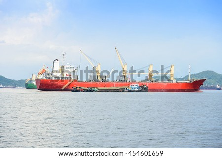 Large container ship in the sea
