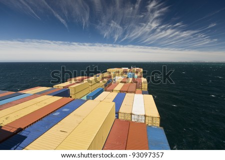 large container vessel ship and land on the far horizon - stock photo