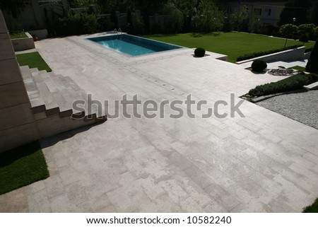 large courtyard with pool
