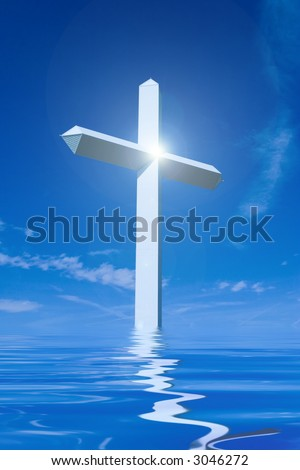 Large Cross with Bright Light - stock photo