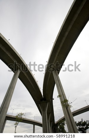 Large crossing elevated traffic highway - stock photo