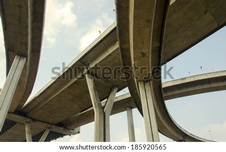 large crossing highway overhead. - stock photo