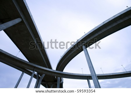 large crossing highway overhead - stock photo
