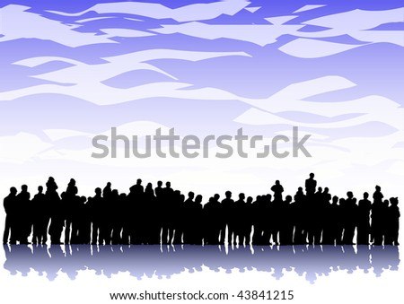 large crowd ina background of the sky with clouds