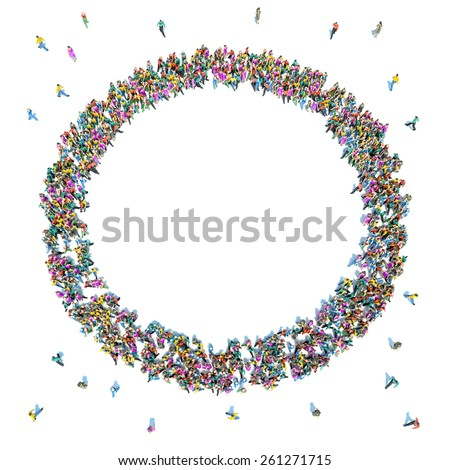Large crowd of people moving toward the center forming a circle - stock photo