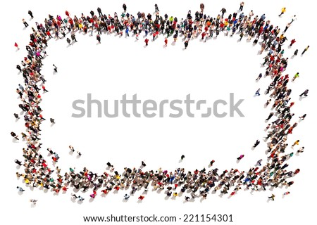 Large crowd of people moving toward the center forming a square with room for text or copy space advertisement on a white background.  - stock photo