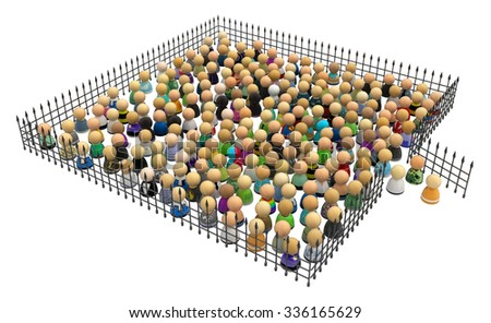 Large crowd of small symbolic 3d figures, behind iron fence, over white - stock photo