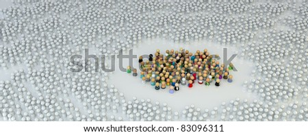 Large crowd of small symbolic 3d figures, over white - stock photo