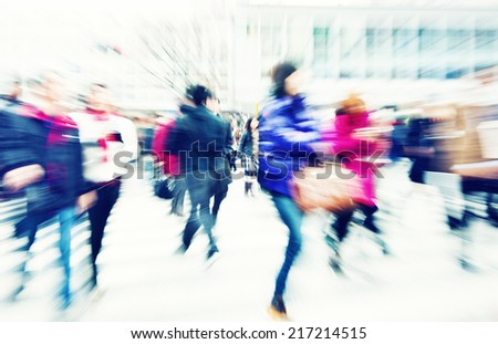 Large Crowd Walking in a City