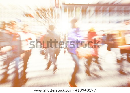 Large Crowd Walking in a City Concept - stock photo