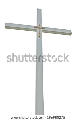 Large crucifix, light grey isolated catholic cross, vertical perspective closeup - stock photo
