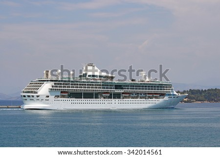 large cruiser ship Corfu island Greece - stock photo