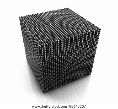 Large cube made of a small chrome balls, 3d render - stock photo