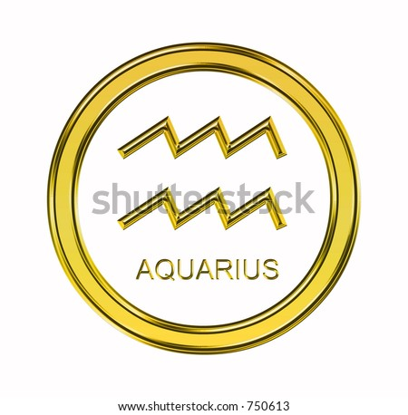 Large 3D gold aquarius symbol on pure white background - stock photo