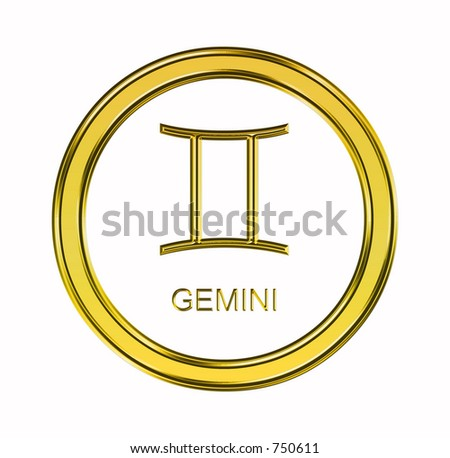 Large 3D gold gemini symbol on pure white background - stock photo
