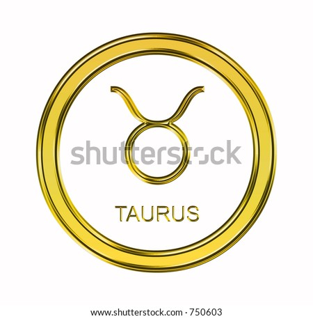 Large 3D gold taurus symbol on pure white background - stock photo