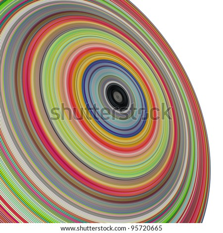 large 3d render concentric pipes in multiple colors - stock photo