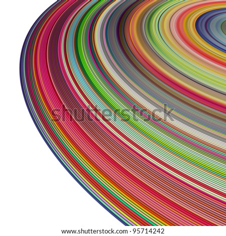 large 3d render concentric pipes in multiple colors on white - stock photo