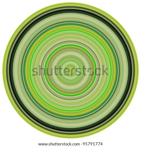 large 3d render concentric pipes in multiple green colors - stock photo