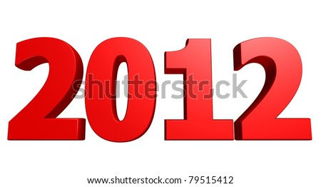 Large 3D rendered 2012 text - stock photo