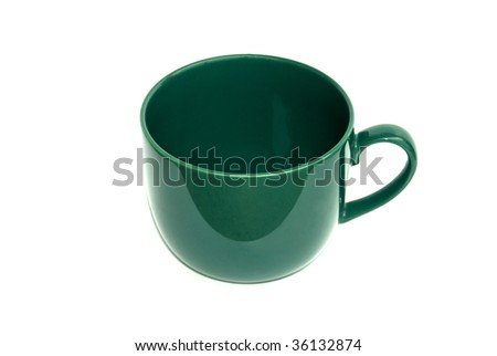 Large dark green soup cup isolated on white background.