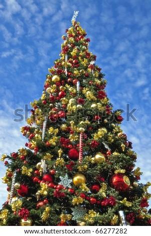 Large Decorative Christmas Tree - stock photo