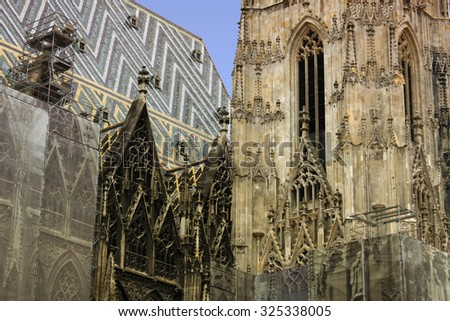 Large detail of architecture on st. Stephen cathedral in Vienna, Austria - stock photo
