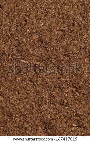 Large detailed brown organic humus soil background pattern, vertical peat turf macro Closeup - stock photo