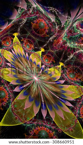 Large detailed crazy distorted flower background with a large central flower and a detailed intricate pattern in high resolution, all in glowing green,yellow.pink,purple