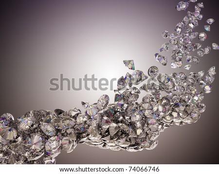 Large diamonds flow over studio light background - stock photo