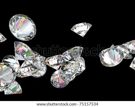 Large diamonds or gemstones isolated over black background - stock photo