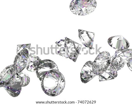 Large diamonds or gemstones isolated over white background - stock photo
