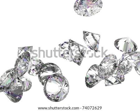 Large diamonds or gemstones isolated over white background - stock photo
