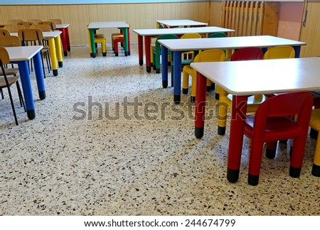 large dining room of the nursery canteen without children - stock photo