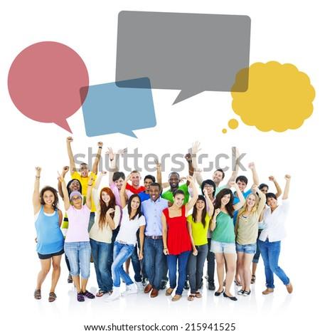 Large Diversed group of people enjoying. - stock photo