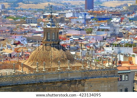 Large dome above the Cathedral of Saint Mary of the See (Seville Cathedral) in Seville, Andalusia, Spain - stock photo