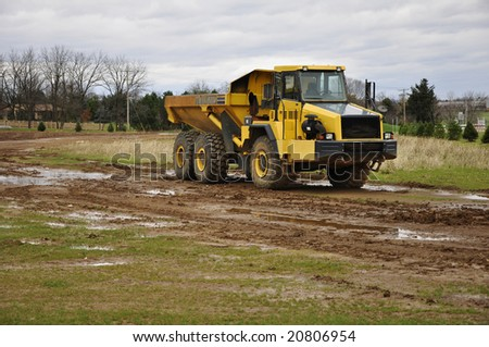 large dump truck at a construction site