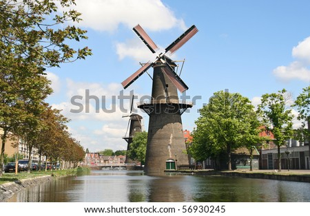 Large Dutch early Industrial Revolution windmill in Schiedam, Holland