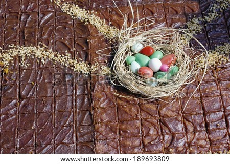 Large Easter cake with caramel nuts and chocolate background. Outdoor sunny day shot