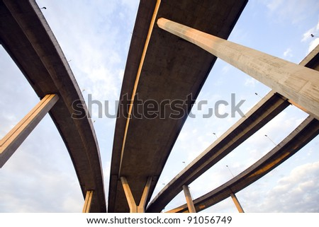 Large elevated traffic highway - stock photo
