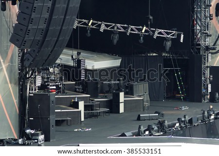 large empty rock concert stage - stock photo