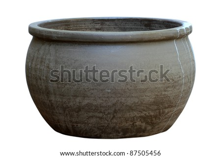 Large, empty, terracotta pot isolated on white - stock photo