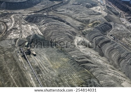 Large excavators in coal mine, aerial view  - stock photo