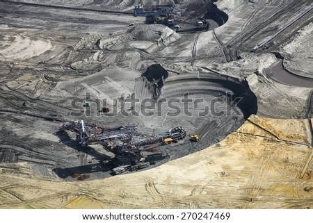 Large excavators in coal mine, aerial view