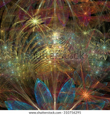 Large exotic abstract fractal flower background with decorative stars and arches in the middle and big flowers on top and bottom, all in high resolution and glowing red,pink,yellow,blue