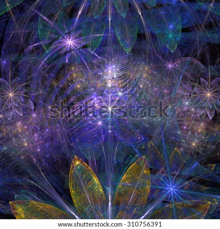 Large exotic abstract fractal flower background with decorative stars and arches in the middle and big flowers on top and bottom, all in high resolution and glowing blue,pink,yellow