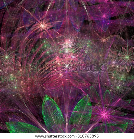 Large exotic abstract fractal flower background with decorative stars and arches in the middle and big flowers on top and bottom, all in high resolution and glowing pink,purple,green